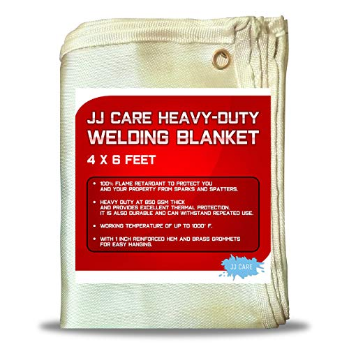 JJ CARE Heavy Duty Welding Blanket 4x6 ft Fiberglass Welding Curtain [850GSM Thick] Weld Blanket 48 Sq Ft Welding Shield, Weld Curtain for Industrial and Home Use