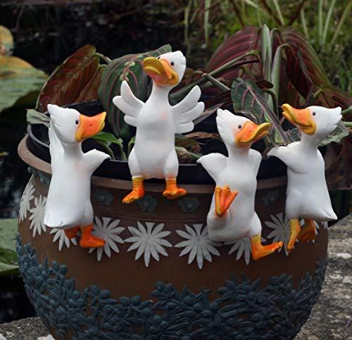 FHFY Garden Set of 4 White Duck Pot Hanger Pot Hugger, gardening ornament, indoor or outdoors. …
