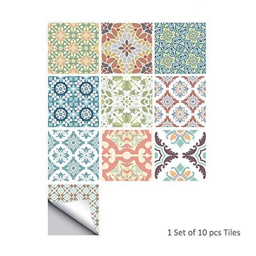 Rocwart Marokkaanse Tegel Stickers voor Keuken & Badkamer 6x6 Inch Pearly Backsplash Tegel Stickers Verwijderbare Vinyl Waterdichte Anti-Mood Home Decor Art voor Muren Trappen Stickers, 10 STKS