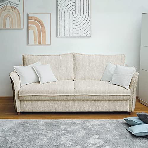 place to be. D&S Vertriebs M19206 - Sofá cama (140 cm de ancho, con cajón, 2 plazas, plegable, madera de haya maciza), color crema