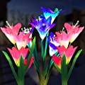 Outdoor Solar Garden Stake Lights, 3 Pack Solar Powered Flower Lights with 12 Lily Flower, Multi-Color Changing LED Solar Landscape Decorative Lights for Garden, Patio, Backyard(Solar Flower Lights)