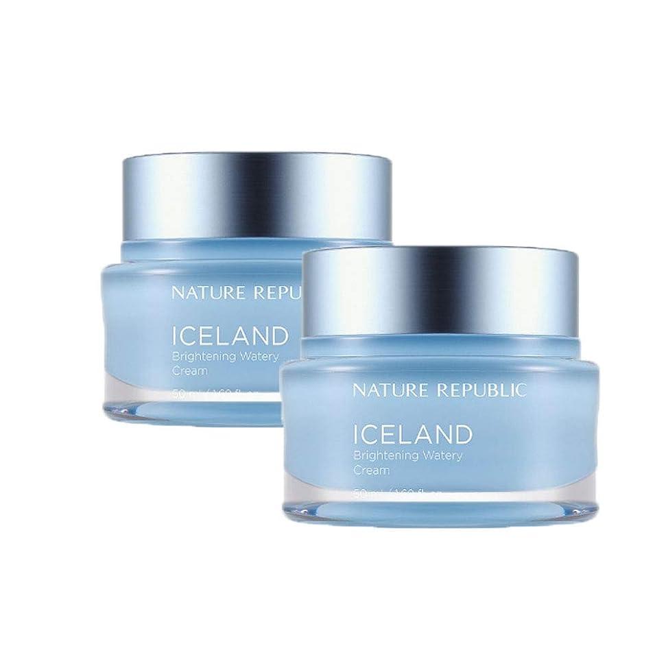 驚かす可能にするくさびネイチャーリパブリックアイスランドブライトニング水分クリーム50mlx2本セット韓国コスメ、Nature Republic Iceland Brightening Watery Cream 50ml x 2ea Set Korean Cosmetics [並行輸入品]