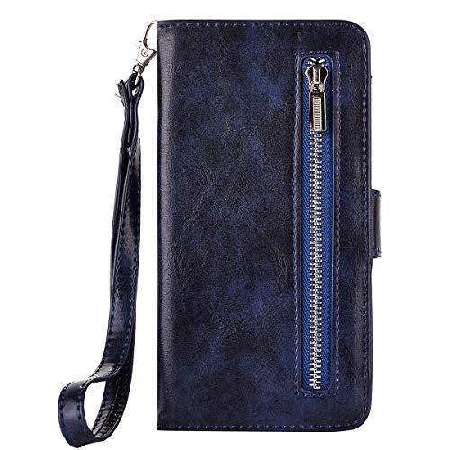 Ekakashop Puro Colore Anti-Theft Completa PU Leather Flip Libro Book Style Cerniera Wallet Portafoglio Magnetica Disegno Protezione Cover Case Cassa Compatibile con Galaxy A3 2017, Profondo Blu