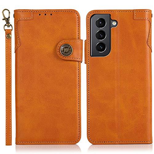 Happy-L Funda compatible con Samsung Galaxy S21 Plus, funda de piel tipo cartera [ranura para tarjetas múltiple] [muñeca de mano] cierre magnético protección completa TPU teléfono caso (color: marrón)