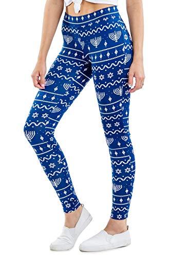 Tipsy Elves Women's Cute Hanukkah Leggings - Blue Menorah Printed Leggings (Small)
