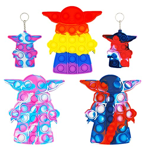 Evolench 5Pcs Yoda Pop Push it Bubble Fidget Toys Mini pop Relieves Stress Simple Dimple Tie-Dye Toy,Push it Bubble Fidget Sensory Toys Office Desk Toy,(3 Large Pop and 2 Mini Pop Keychain)