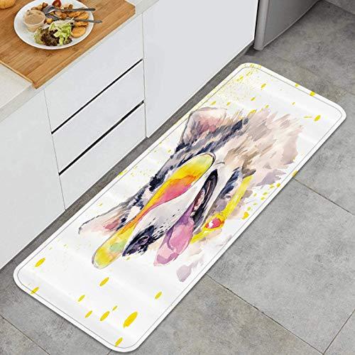 Alfombrilla de cocina antideslizante Perro husky divertido con gafas de sol Cuadro de perrito fresco de acuarela Decoración piso de alfombra para baño, sala de estar, oficina, fregadero-120cm x 45cm