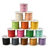 WOWOSS 15 Rollos Hilo Cuerda Nylon Color Joyería Cordón Cable para DIY Collar Pulsera Abalorios