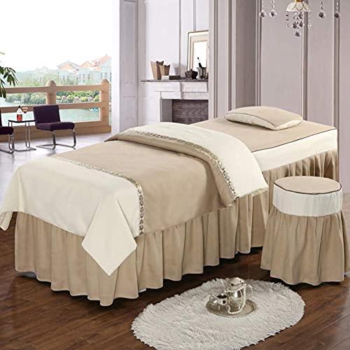 XKun Falda de cama de salón de belleza de cuatro piezas de masaje reología falda de cama combinación de lujo luz cuatro estaciones universal falda de cama 80 x 190 cm