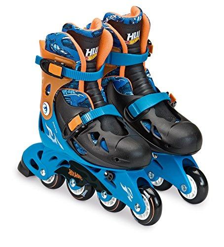 Patins Ajustável M2 33 a 36 com Acessórios de Segurança Hot Wheels Azul