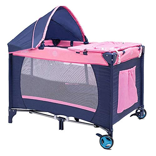 Convertible Box, met grote capaciteit mand, Oxford Carry Bag, Kinderbedjes Tent Klamboe Travel Game Fence Opvouwbare Diaper Tabel Multifunctionele (Color : Pink)