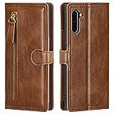 CHENDX Custodia Per Samsung Galaxy Note 10, Multi-Card Holder Wallet Case, Multifunzionale Cerniera Borsa Portafoglio In Pelle (Colore: Marrone)