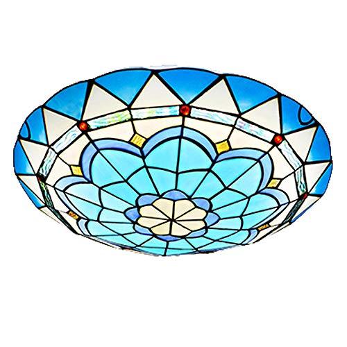 Tiffw Tiffany-Deckenleuchten/mediterrane Blaue Deckenleuchten, einfacher Kreis-Buntglas-Lampenschirm-Unterputz-Dekor-Beleuchtungs-Korridor-Schlafzimmer-Balkon-Befestigung E27,16inch