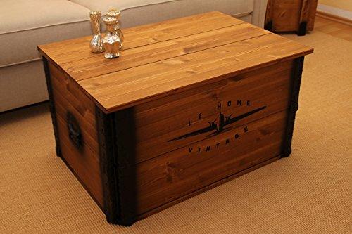 Uncle Joe´s Truhe Le Home Couchtisch Truhentisch im Vintage Shabby chic Style aus Massiv-Holz in braun mit Stauraum und Deckel Holzkiste Beistelltisch Landhaus Wohnzimmertisch Holztisch nussbaum - 2