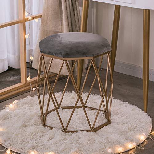 Smeedijzeren make-up stoel fluweel gevoerde voetbank moderne ronde dressing kruk koffie tafel stoel sterk en duurzaam (15.7x15.7x18.1inch)