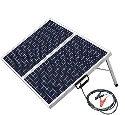 ECO-WORTHY Kit de Panneau Solaire Polycristallin 100W 12V Pliable, 2x50W Panneaux Solaires + 20A Contrôleur + Pinces Crocodiles, pour Caravane/Bateau
