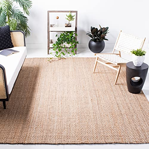 Safavieh Natural Fiber Collection NF401A Handmade Basketweave Jute Area Rug, 9' x 12', Natural