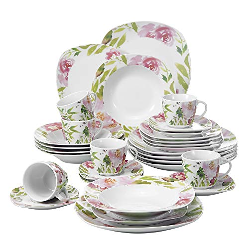 VEWEET Ashley 30pcs Service de Table Porcelaine 6pcs Assiette Plate/Assiette à Dessert/Assiette Creuse/Tasse avec Soucoupes pour 6 Personnes Vaisselles Céramique Design Fleuri