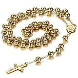 Collar Hombre Mujer Oro con Colgante Cristo Crucifijo Cruz Rosario Acero Inoxidable Salud Joyería de Retro Vintage Regalo San Valentin