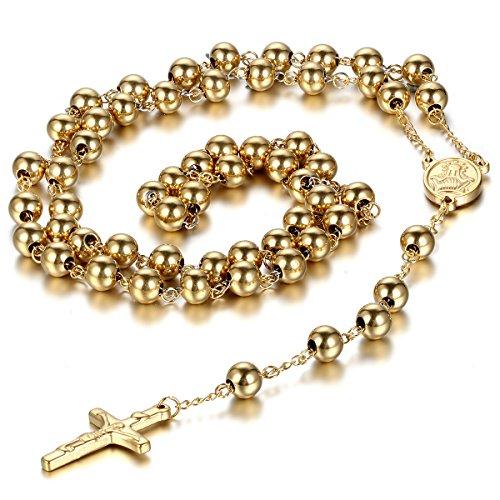 Oidea - Collar con colgante para hombre y mujer, de acero inoxidable, con colgante de cruz de Cristo Jesucristo crucifijo, cadena de bolas, color negro, oro, plata, oro rosa