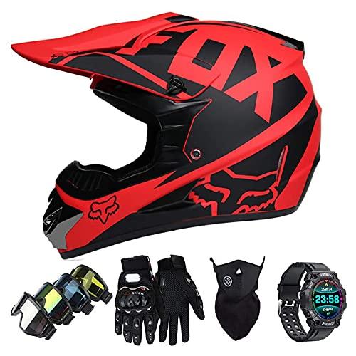Casco Motocross Niño Set con Diseño FOX, Adulto y Juventud Integral Homologado Moto Cross Casco para Downhill ATV Enduro Off Road (Gafas+Máscara+Guantes+Reloj Inteligente) LXY-3