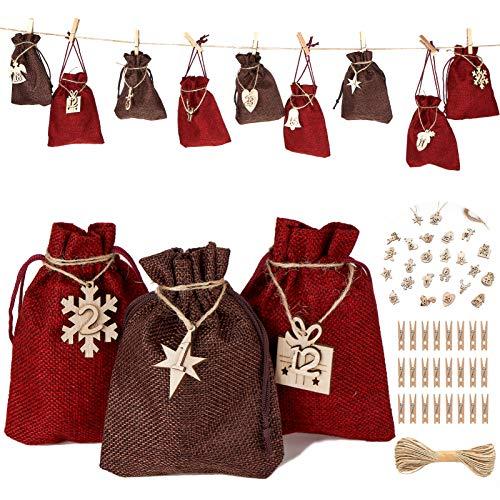 Benewell Weihnachtsbaum Adventskalender,mit 24 DIY Stoffbeutel mit 24 Weihnachtsabzeichen als Geschenk-Verpackung Weihnachten DIY Weihnachtsbaum als Geschenk-Kalender (Rot & Braun)