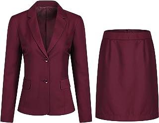 YFFUSHI Women 2 Pieces Skirts Suit Jacket Ladies Formal Office Business Blazer Coat