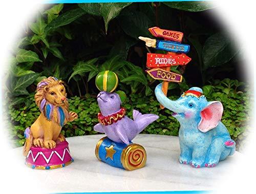 New Fairy Garden Miniature Candy Carnival Set 3 Animals Elephant Lion Seal Dollhouse Magic Scene Supplies Accessories Na-1475F