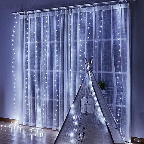 Curtain Lights, 8 Modes Fairy Lights String with Remote Controller, IP64 Waterproof, USB Plug in Twinkle Lights for Weddings, Parties, Backdrop, Wall Decorations, 300 Led(9.8x9.8Ft, White)