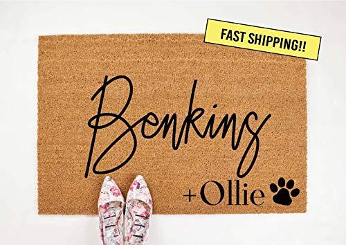 Yor242len Welkom mat Gepersonaliseerde Aangepaste monogram deurmat Hond Familie Hond tapijt Deur Hond Paw