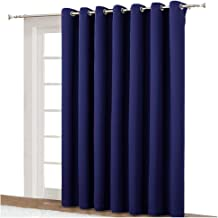 NICETOWN Blackout Curtain for Sliding Door - Patio Door Curtains, Thermal Insulated Wide Drapes/Draperies for Bedroom (Dark Blue, 100 by 84-Inch)
