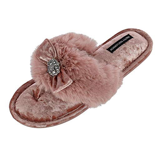 Pretty You London Women's Amelie Thong Slide Slipper with Bow and Rhinestone Pink