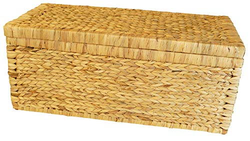 Artra Design gevlochten kist met klapdeksel, 80 cm, natuur ademend, bewaardoos met deksel, opbergkist, opbergkist, wasmand