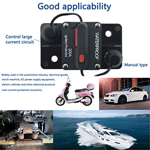 Mottdam Disyuntor de circuito de coche de 50 A, 12 V-48 V CC, resistente al agua, interruptor de circuito en línea de audio de coche con reinicio manual, inversor para coche, barco marino (50 A)