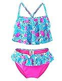Maillots de Bain Deux Pièce Filles, 50+ UPF UV Protection Flamingo Bikini Enfant Plage été Sport - Rose/Bleu- 8-9Ans (EUR 139/142) Flamingo