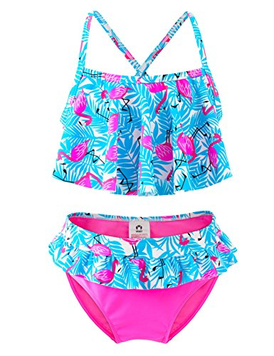 IKALI Mädchen Bademode Bikini Set, 50 UPF UV Sonnenschutz Flamingo Badeanzug, Kleinkind Sommer Strand Sport, Rosa, 7-8Jahre