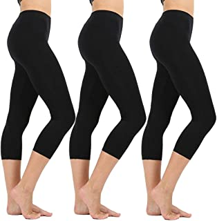 19b64f7440f3 High Waisted Soft Capri Leggings for Women-Tummy Control and Elastic Opaque  Slim-One