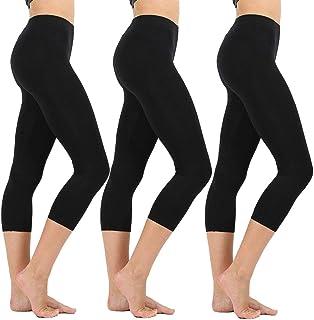 800e037d4b6a58 High Waisted Soft Capri Leggings for Women-Tummy Control and Elastic Opaque  Slim-One