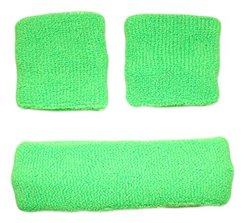 Sweatband Combo Set 2 Wrist & 1 Headband (Neon Green)