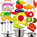 FUNERICA 45-Piece Cut Play Food & Kitchen Toys with Pretend Stainless Steel Pots & Pans, Cooking Utensils, Knife & Cutting Board, Fruits, Vegetables, Fish, Storage Bin, for Kids, Girls, Boys, Toddlers