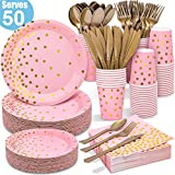 Pink and Gold Party Supplies - 350PCS Disposable Paper Plates Dinnerware Set - Pink Dinner/Dessert Plates Napkins Cups, Gold Plastic Forks Knives Spoons for Graduation Fathers Day Independence Day