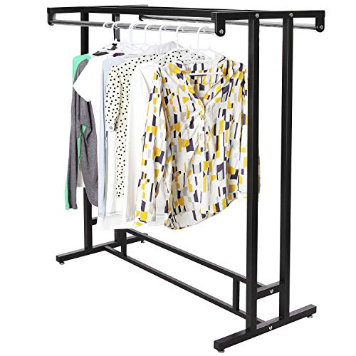 MyGift Stainless Steel Double Rod Hangrail Department Store Style ClothesGarment Floor Display Rack