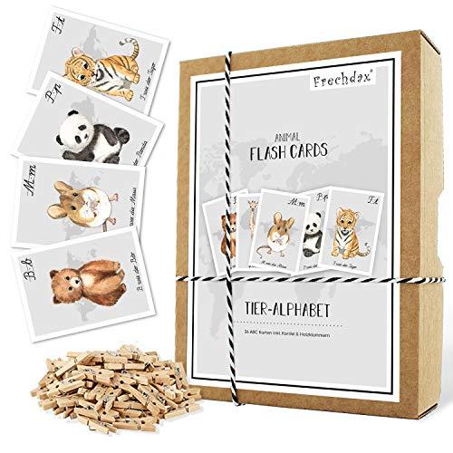 Frechdax® ABC Karten Alphabet Lernkarten Buchstaben Lernspiel 26 Stück - Safari & Waldtiere Tiere (grau)