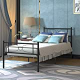 Single Metal Platform Twin Bed Frame for Kids Girls Boys Adults 12.7 Inch Beds Storage Mattress Foundation Steel Slat for Guest Room School Apartment