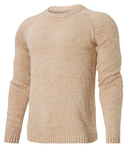 Idgreatim Strickpullover Pullover mit Rundhalsausschnitt für Männer Lässiger Leichter atmungsaktiver Pullover