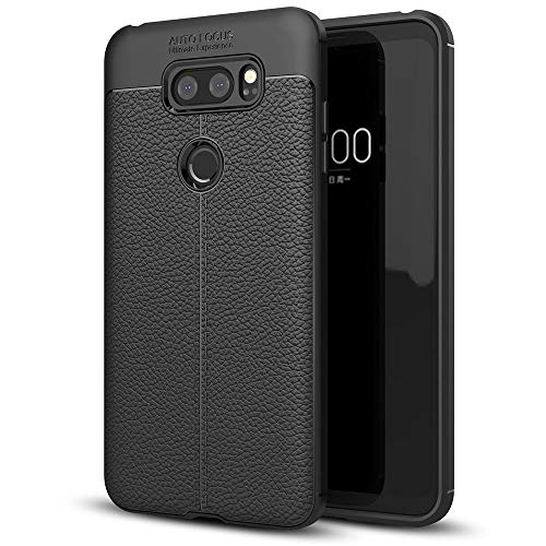 NALIA Leather Look Case Compatible with LG V30, Silicone Ultra-Thin Protective Phone Cover Rubber-Case Premium Gel Soft Skin, Shockproof Slim Back Bumper Protector Back-Case Smartphone Shell - Black