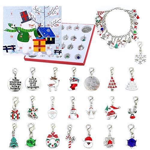 Adventskalender Schmuck Mädchen Frauen Kinder 2020 Schmuckstücke Weihnachtskalender 24 tolle Überraschung DIY Armband Halskette Set Weihnachten Geschenk