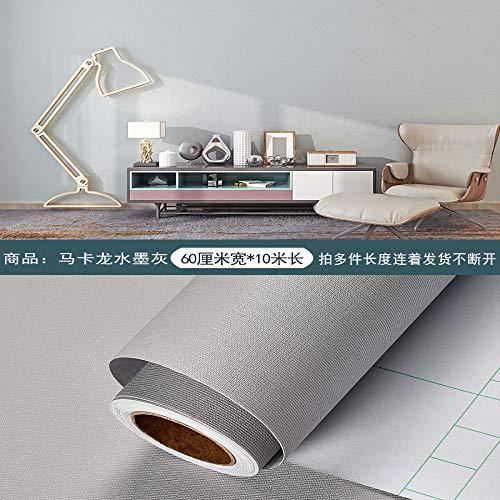 Behang zelfklevend papier waterdicht effen kleur behang woonkamer muur decoratie muur Stickers 0.6m * 10m Ink Ash