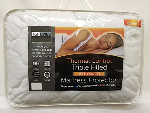 Highliving Quilted Mattress Protector Cover Topper Extra Deep 40cm Triple Filled (Double)