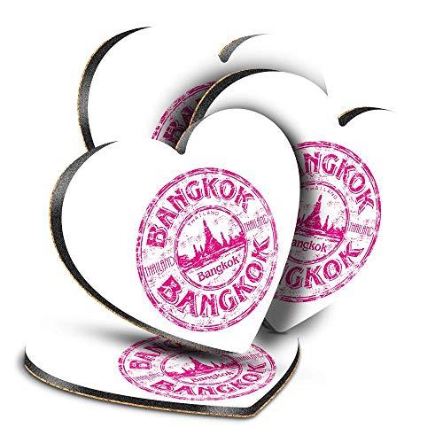Destination Vinyl ltd Great Posavasos (juego de 4) corazón – Bangkok Tailandia Tailandia sello de viaje bebida brillante posavasos protección de mesa para cualquier tipo de mesa #5916